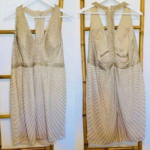 Aidan Mattox dress gown 16 sequin tan prom formal